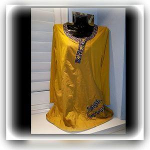 Mustard Yellow Flower Crew Neck Vintage Dress